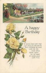 A HAPPY BIRTHDAY  garden above yellow roses