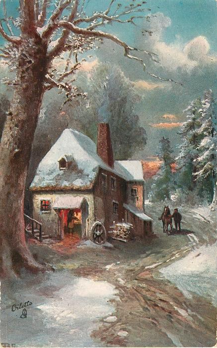 house to right of large tree has opening with wheel leaning on corner, man with horse approach