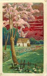very shiny, metallic painted card with red sky and greenish water