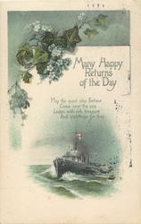 MANY HAPPY RETURNS OF THE DAY  ivy & flowers above, verse in centre, ship below