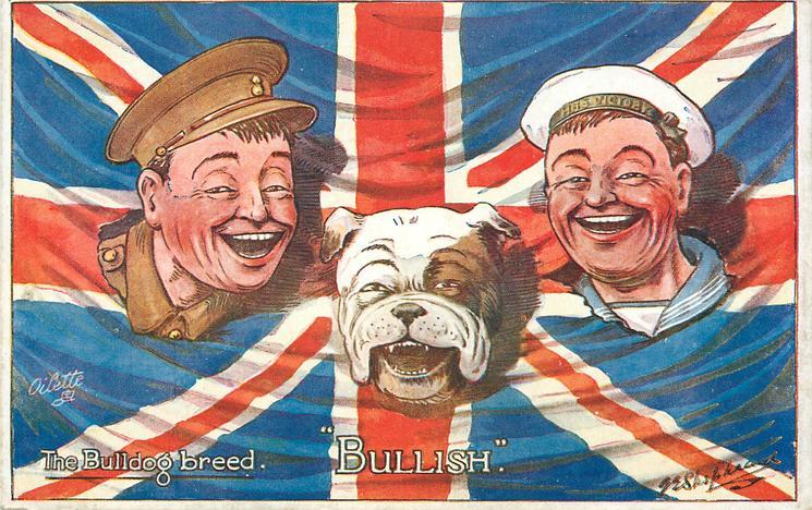 BULLISH  heads of bulldog, soldier & sailor, flag