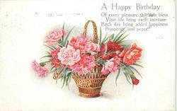 A HAPPY BIRTHDAY  basket of carnations