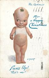FOR A HAPPY CHRISTMAS, THE OPTIMIST,  A MASCOT faces front eyes look left