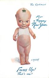 FOR A HAPPY NEW YEAR,  THE OPTIMIST,  A MASCOT   faces front eyes look left