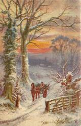snow scene, horse & cart loaded with sticks driven forward, two big trees left of road, fence lower right