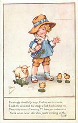 girl with three toy chicks & two sheep