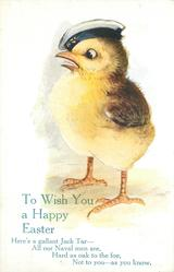 TO WISH YOU A HAPPY EASTER  chick in navy hat looks left