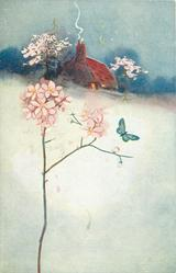 snow scene, pink flower left, butterfly over it, house behind,  pink blossom trees both sides of house