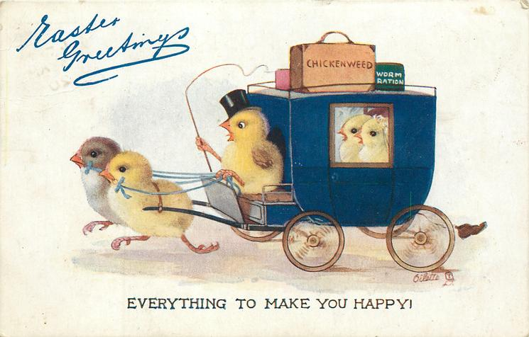 EVERYTHING TO MAKE YOU HAPPY!  chick wearing hat drives two others pulling coach