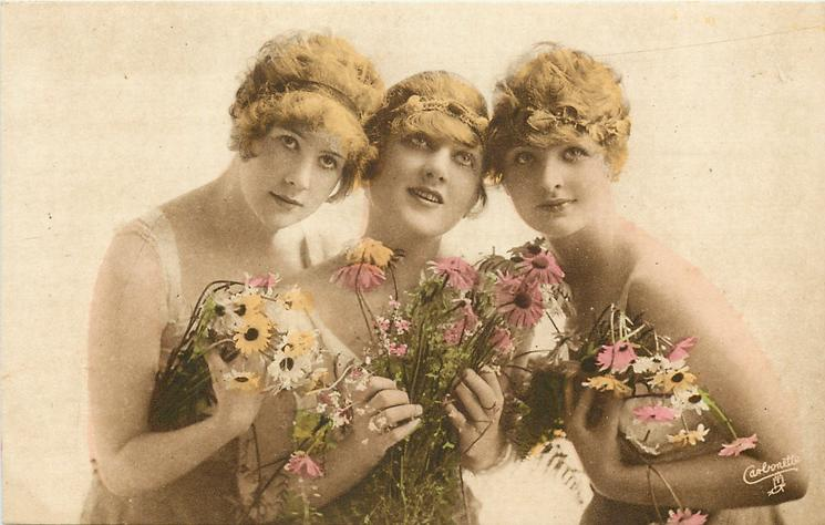 three pretty girls carry flowers, centre girl faces front &  looks up, girl to right faces & looks front, her left elbow prominent, four hands visible