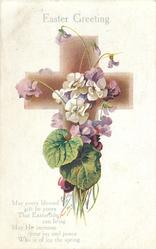 EASTER GREETING  white & lilac violets