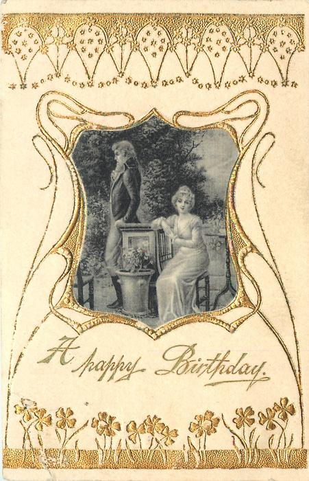 A HAPPY BIRTHDAY satin inset of couple, woman sits right, man stands left, facing left