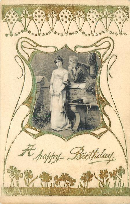 A HAPPY BIRTHDAY satin inset of couple, woman stands left in front of wall, man leans from behind