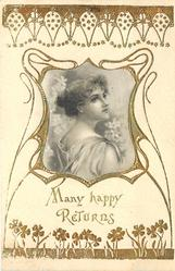 MANY HAPPY RETURNS satin inset of girl facing rigtht, looking up/front