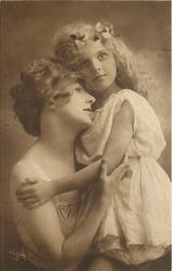 mother holds child in arms, mother to left, heads touch, girl's left hand on mother's right shoulder,  mother's right hand on girl's left elbow, girl stands on mother's lap