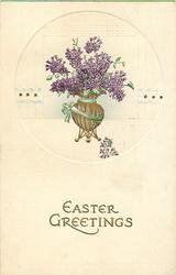 EASTER GREETINGS  vase with tripod base, full of purple flowers, green ribbon around