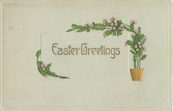 EASTER GREETINGS  gilt pot with stylised heather flowers