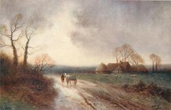 man & cart move away down road, two tall trees left, farm buildings distant right