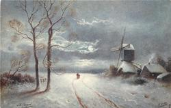 night snow scene, road between two tall trees left & windmill & buildings right, two distant people