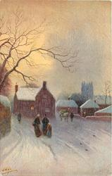 snow scene, village behind, two people & child front, horse & cart behind right, another figure behind left