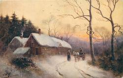 snow scene, cottage left, two people, man on horsecart & woman next to the horse right