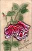 MANY HAPPY RETURNS  pink rose & bud, green leaves