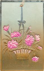 MANY HAPPY RETURNS or NEW YEAR GREETINGS  ribbon applique holding up basket of pinks