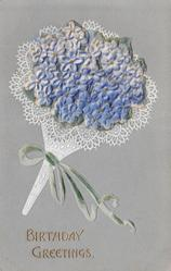 BIRTHDAY GREETINGS heavily embossed with addition of forget-me-nots