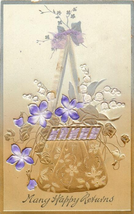 ribbon applique holds up basket of violets & white lilies-of-the-valley