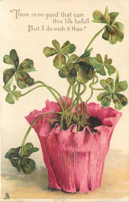 4 leaved clover in red pot & verse