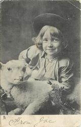 child behind lamb toy, arms not visible