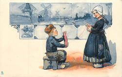 boy sits and helps with wool winding, girl to right, windmill on tiles upper left