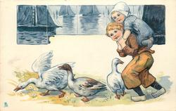 boy with small girl on back, three geese, boats on tiles upper left