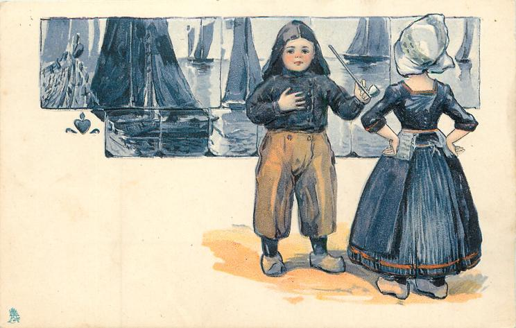 Dutch boy with pipe in left hand faces girl, tiles of boats behind