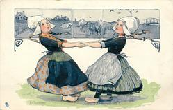 two Dutch girls facing, hands linked, pulling, cows on tiles above