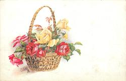 red and yellow roses in a brown EASTER basket on the left side of card