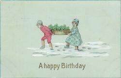 A HAPPY BIRTHDAY  Dutch boy & girl carry clover