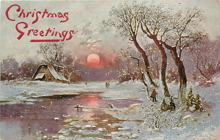 snow scene, parly frozen water lower left, farm house on left bank, man walks in woods right, setting sun
