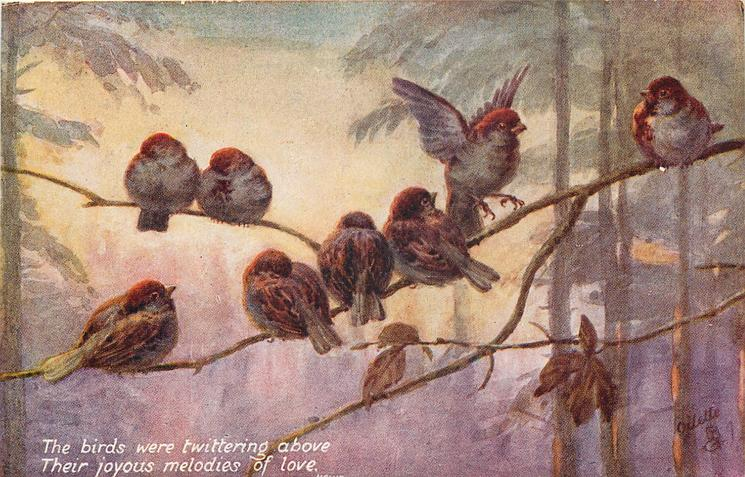 THE BIRDS WERE TWITTERING ABOVE THEIR JOYOUS MELODIES OF LOVE. quote HEINE