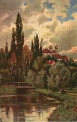 stream with bridge in foreground, large castle/monastery right center