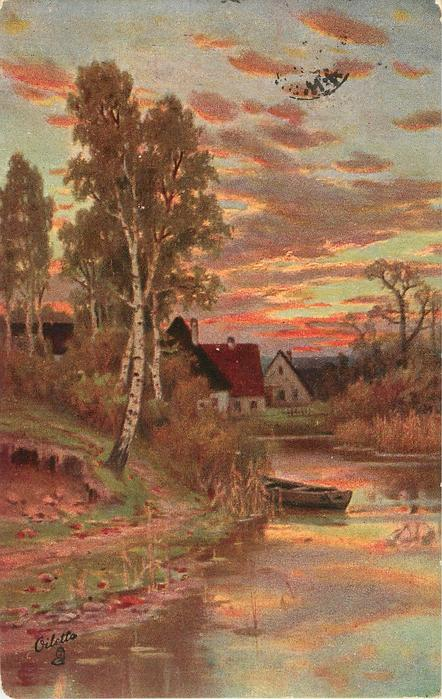sunset, cottages, silver birches, moored boat in stream