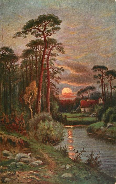 sunset, cottage, woods, stream with reflections in water
