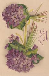 yellow ribbon tying two bunches of purple violets together one bunch vertical the other horizontal with stalks to right