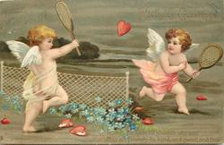 BIRTHDAY GREETINGS  with verse, winged cherubs playing tennis with red hearts, white robe on left, pink robe on right