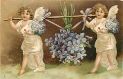 LOVING BIRTHDAY GREETINGS or w/o greetings  cherubs carrying violets, looking left/front, carrying envelopes with hearts on them