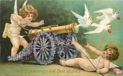 LOVING GREETINGS AND BEST WISHES  cannon with wheels of violets points right