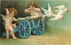 WITH LOVE AND BEST WISHES  cannon with wheels of forget-me-nots points right