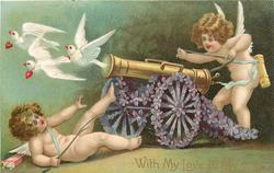 WITH MY LOVE TO MY LOVE  cannon with wheels of violets points left