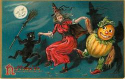 witch holds hand with pumpkin person and black cat, cat has broom in right hand