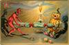 tug of war between devil and pumpkin person, lighted candle behind